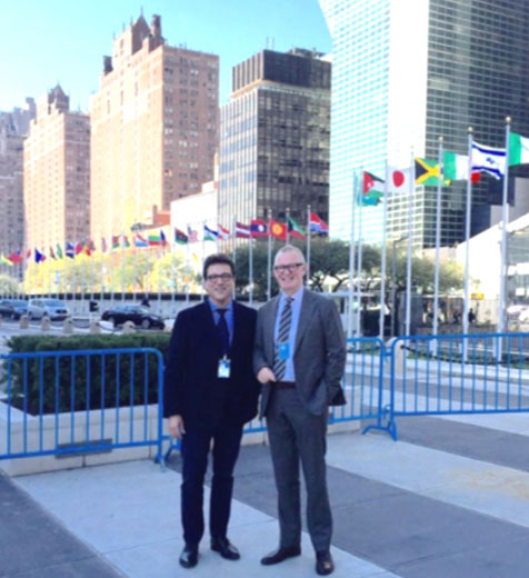 Yann le Cam & Anders outside the UN headquarters New York